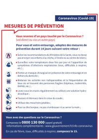 CORONAVIRUS COVID-19 : MESURES DE PRÉVENTION